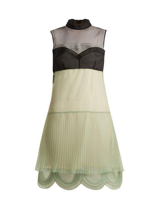 Cigaline contrast-panel pleated organza dress Prada Very Cheap Price DtPgtUel
