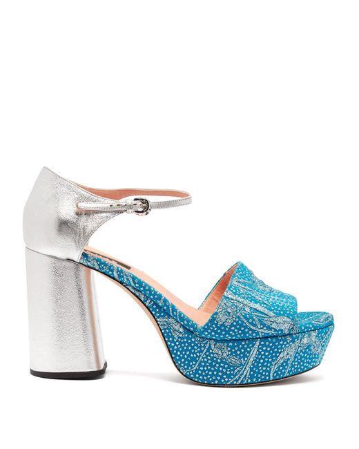 Rochas Blue Brocade And Leather Platform Sandals