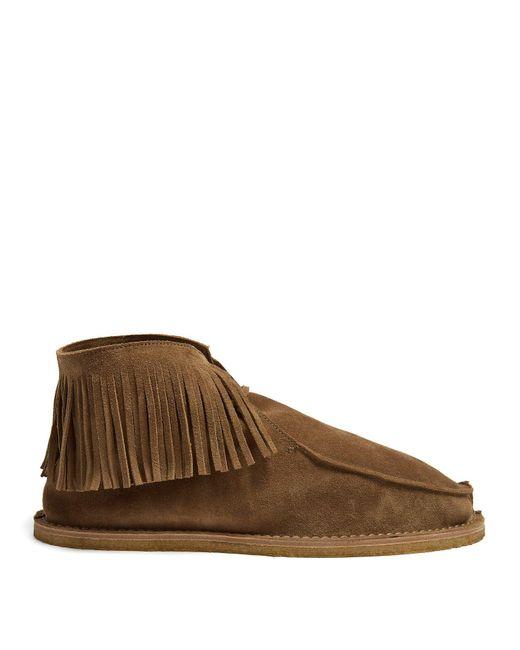 Saint Laurent - Brown Fringed Suede Desert Boots for Men - Lyst
