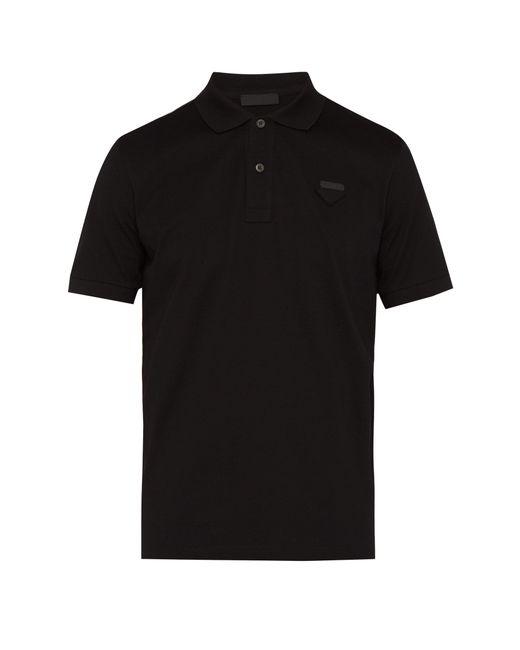 Prada - Black Conceptual Triangle Logo Cotton Piqué Polo T Shirt for Men - Lyst