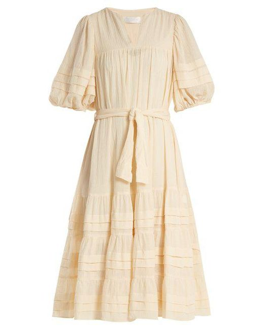 Zimmermann - Natural Prima Tuck Tie-waist Cotton Dress - Lyst