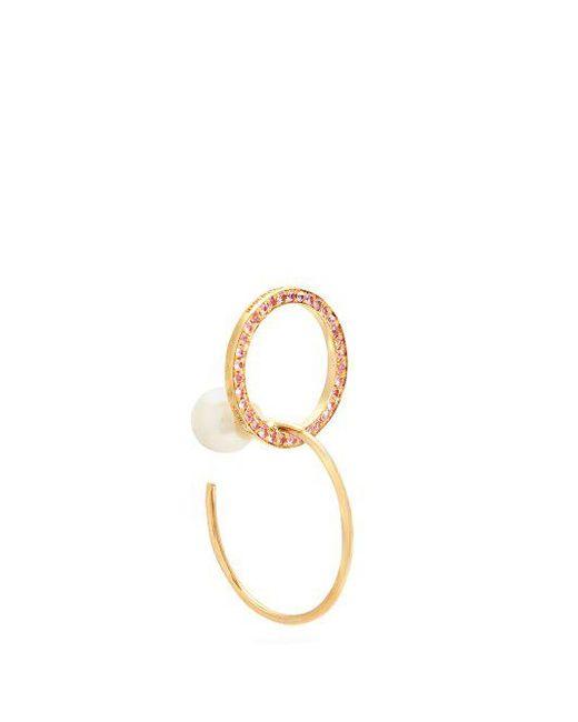 Delfina Delettrez Sapphire, pearl & yellow-gold single earring