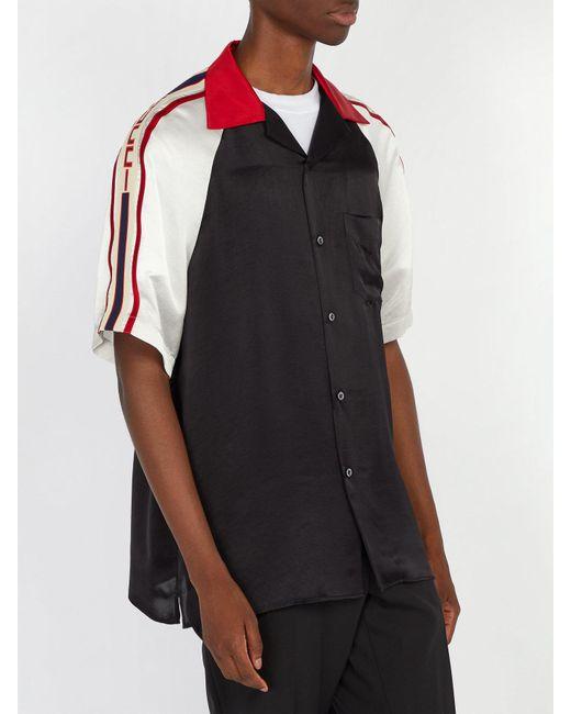 84b73e71d27 ... Gucci - Black Camp-collar Webbing-trimmed Satin Shirt for Men - Lyst ...