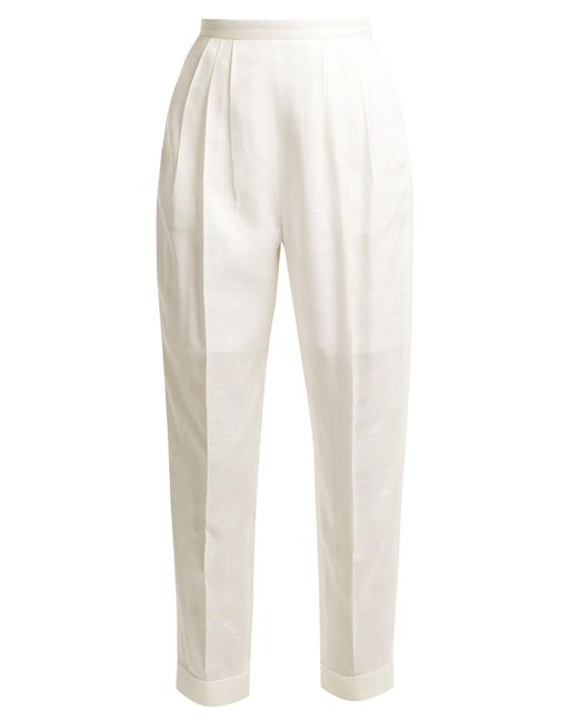 Delpozo - White High-rise Pleated Trousers - Lyst