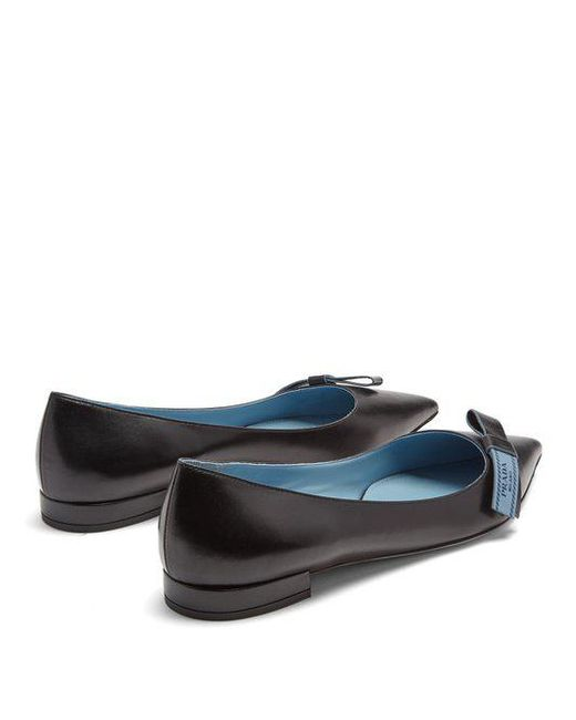 Prada Logo bow-embellished point-toe leather flats Low Shipping Sale Online rVeoIwkw