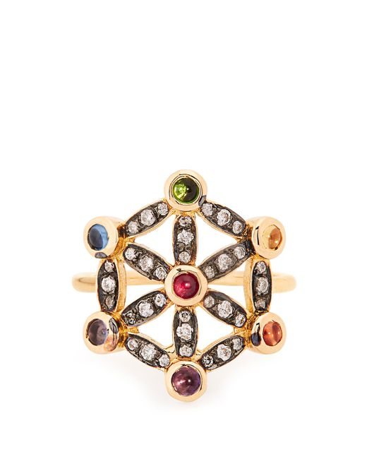 Noor Fares | Metallic Diamond, Multi-stone & Yellow-gold Pinky Ring | Lyst