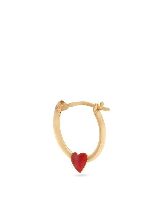 Alison Lou | Red Enamel & Yellow-gold Heart Earring | Lyst