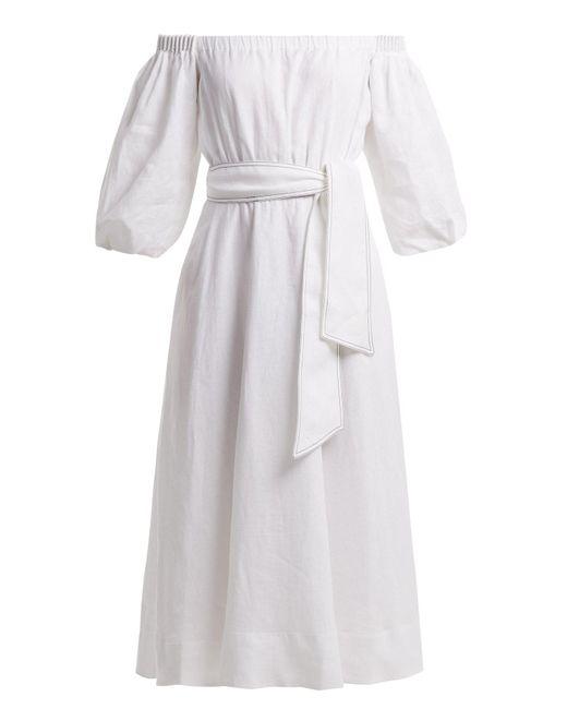 Gabriela Hearst - White Riley Aloe Vera-infused Linen Dress - Lyst