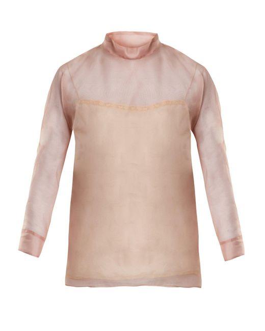 Prada - Pink High Neck Silk Organza Blouse - Lyst
