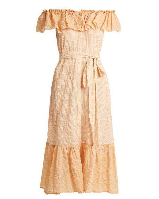 Lisa Marie Fernandez - Multicolor Mira Off-the-shoulder Striped Cotton Dress - Lyst
