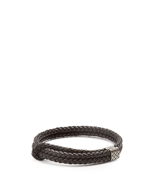 Bottega Veneta | Black Double Intrecciato-woven Leather Bracelet for Men | Lyst