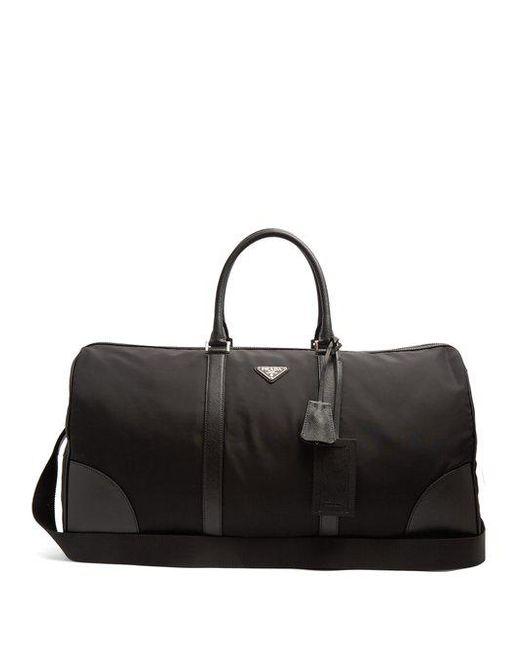 Prada - Black Saffiano Leather-trimmed Nylon Holdall for Men - Lyst