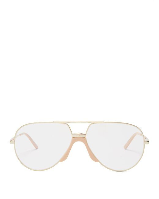 27bb07ca6bf5c Gucci - Metallic Aviator Frame Metal Glasses for Men - Lyst ...