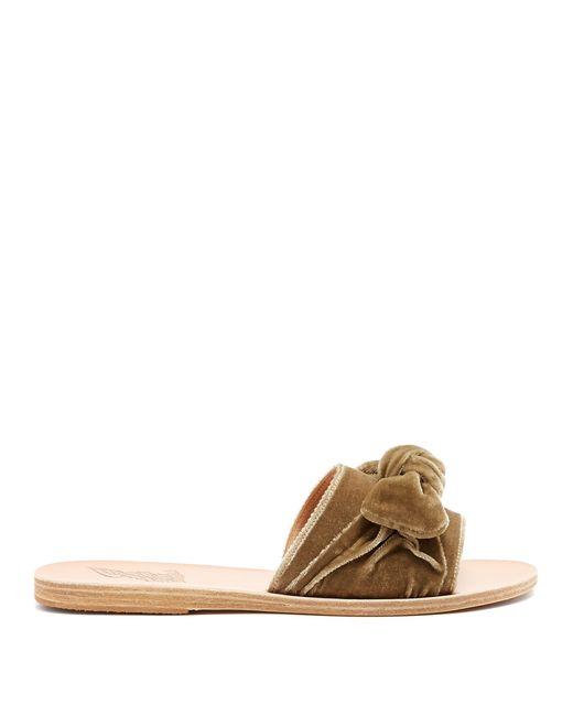 Ancient Greek Sandals - Multicolor Taygete Bow Embellished Velvet And Leather Slides - Lyst