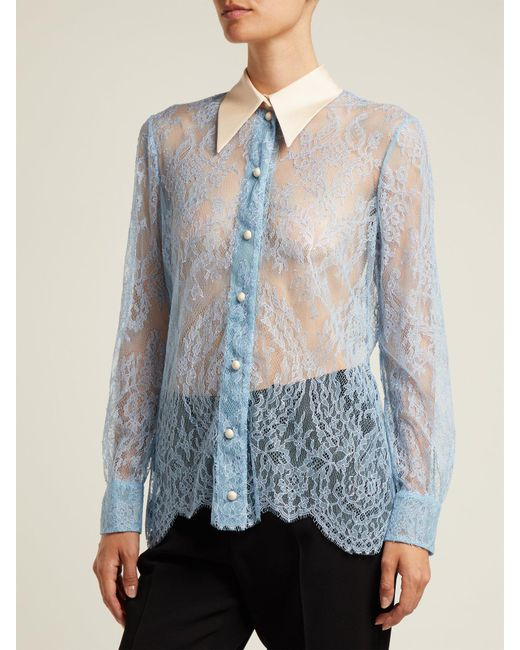 3e3dd87b533b0 ... Gucci - Purple Ribbon Tie Sheer Chantilly Lace Blouse - Lyst ...