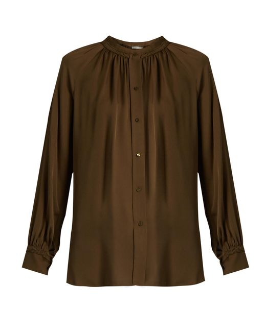 Vince | Multicolor Oversized Gathered Silk Blouse | Lyst