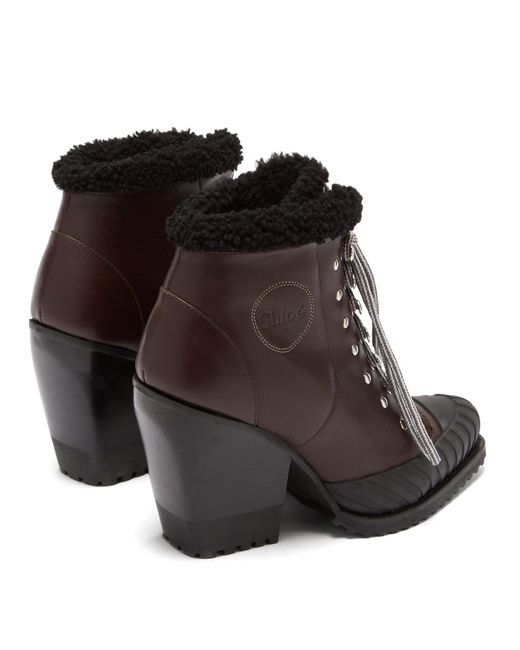 867b01e0042e75 ... Chloé - Brown Shearling Lined Leather Ankle Boots - Lyst ...