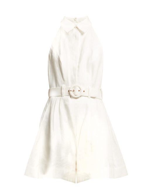 Zimmermann - White Primrose Belted Linen Jumpsuit - Lyst
