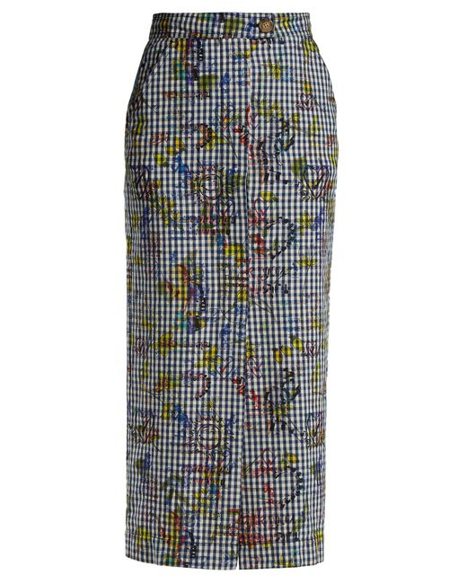 Vivienne Westwood Anglomania - Black Gingham And Print Pencil Skirt - Lyst