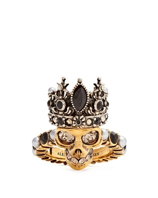 Alexander McQueen - Metallic Queen Skull Crystal And Pearl-embellished Ring - Lyst