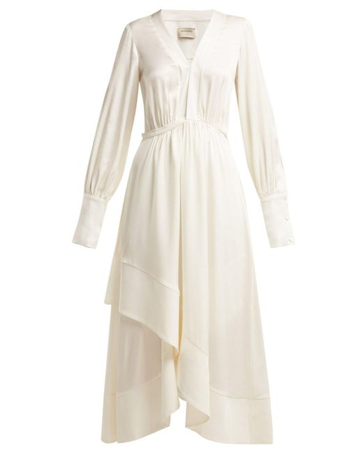 Zeus + Dione - White Theodora Silk-blend Wrap Midi Dress - Lyst