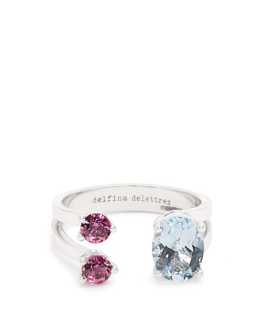 Delfina Delettrez | Multicolor Aquamarine, Tourmaline & White-gold Ring | Lyst