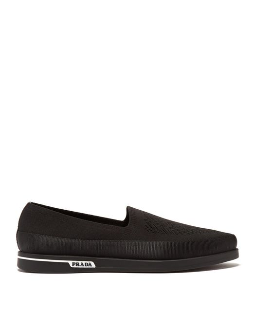 Prada - Black St Tropez Technical Knitted Loafers for Men - Lyst