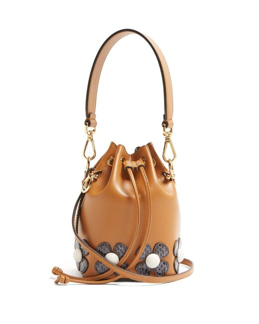 9d56c0fb0892 Fendi - Brown Mon Tresor Flower Appliqué Cross Body Bag - Lyst ...