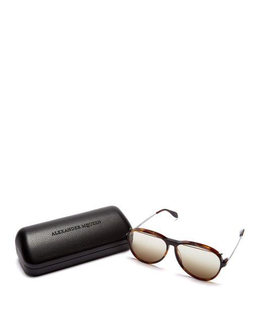 ae2b0423b12f ... Alexander McQueen - Brown Aviator Frame Sunglasses for Men - Lyst ...