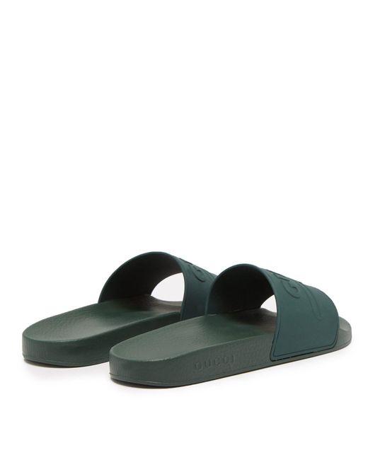 70f2a5d207c63 ... Gucci - Green Pursuit Rubber Slides for Men - Lyst ...