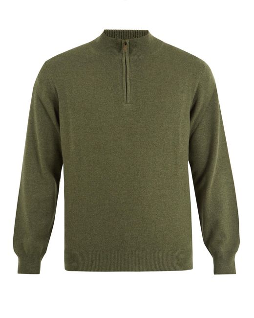 Thom Sweeney | Green Zip-up High-neck Cashmere Sweater for Men | Lyst