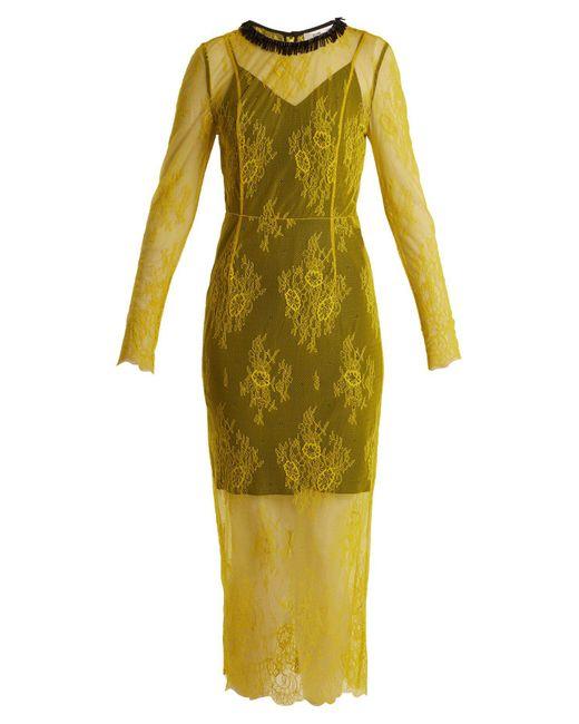 Diane von Furstenberg - Yellow Long Sleeved Bead Embellished Lace Dress - Lyst