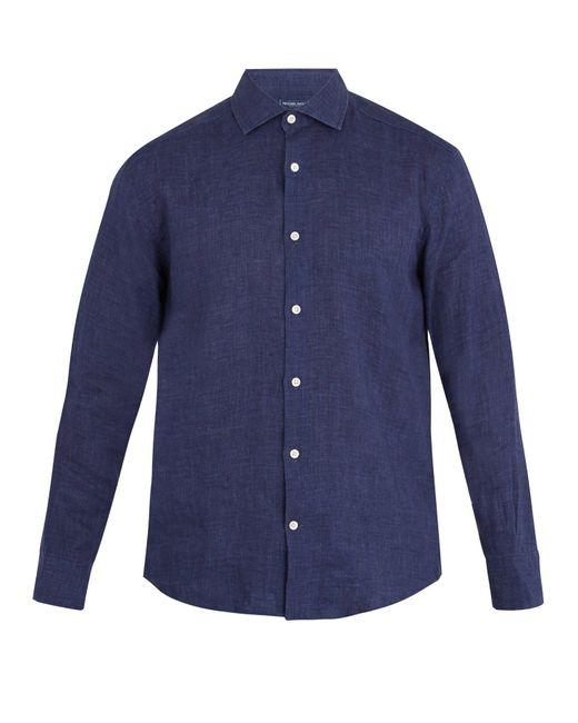 Frescobol Carioca - Blue Point Collar Linen Shirt for Men - Lyst