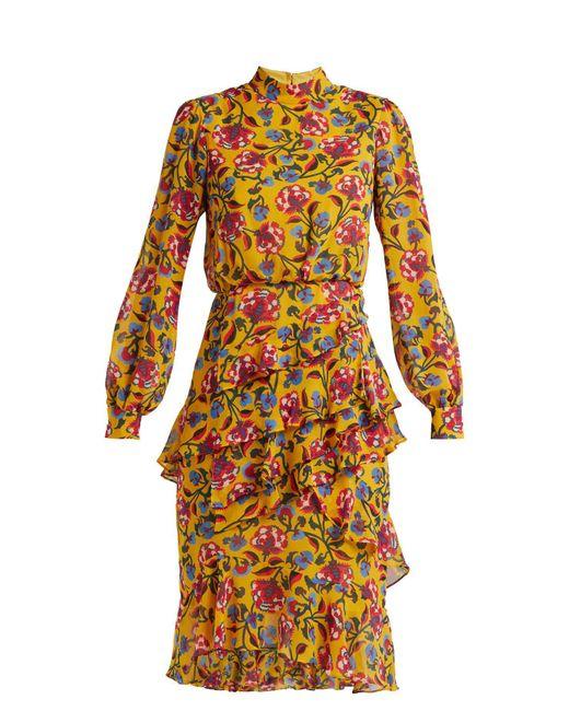 Saloni - Yellow Isa Floral Print Silk Dress - Lyst