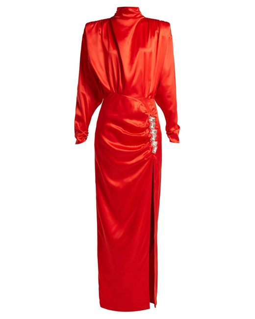 Alessandra Rich - Red Crystal Embellished Silk Satin Gown - Lyst