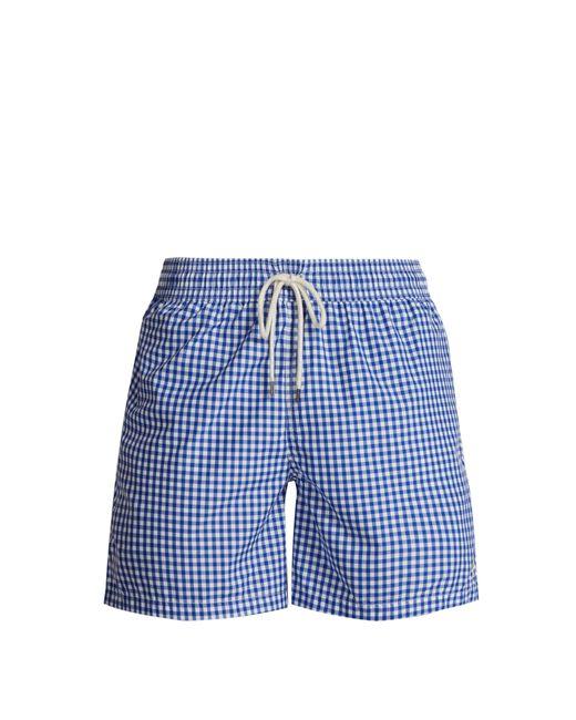 Polo Ralph Lauren - Blue Logo Embroidered Gingham Swim Shorts for Men - Lyst
