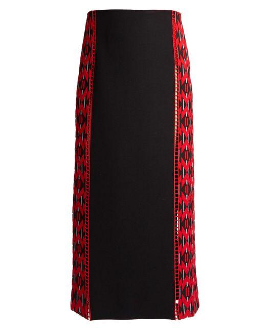 Fendi   Red Lozenges-jacquard Wool And Silk-blend Midi Skirt   Lyst