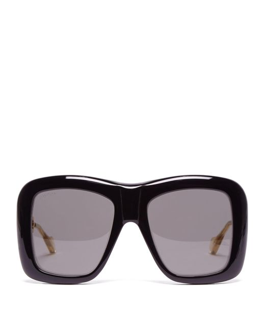 bf6ddcc93a Gucci - Black Oversized Square Acetate Sunglasses - Lyst ...