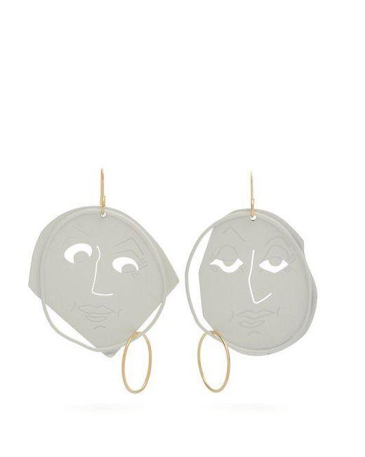 J.W. Anderson - White Moon Face Earrings - Lyst