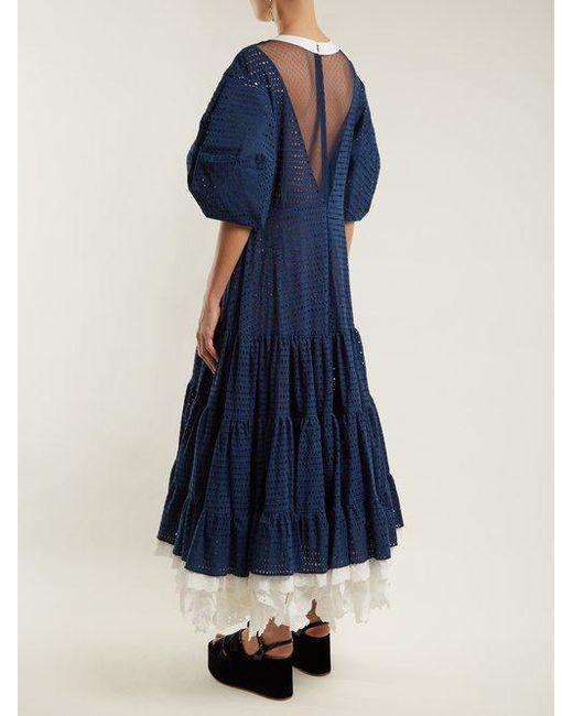 Broderie-anglaise puff-sleeved cotton dress Natasha Zinko Shop Offer For Sale 3x4kS