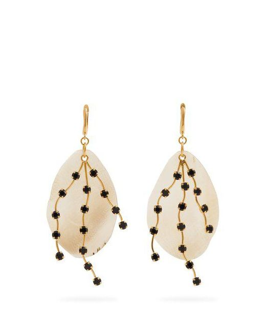 Marni - White Crystal-embellished Leaf Earrings - Lyst