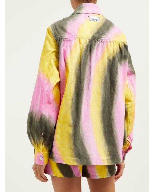 08ab0898bad ... Ganni - Gray Tie Dye Denim Jacket - Lyst ...