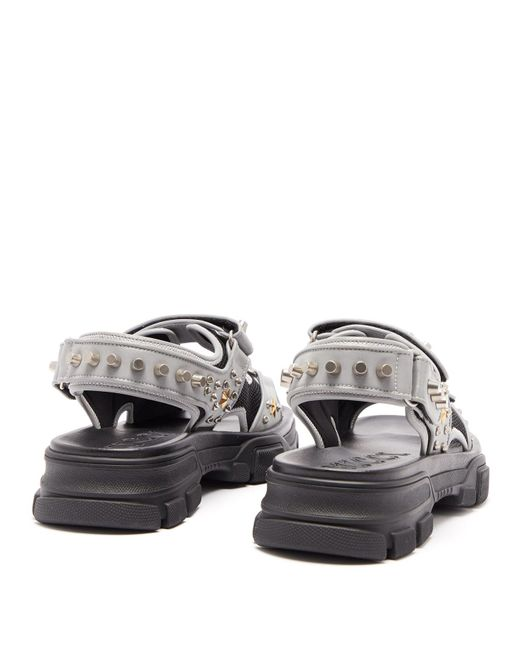 a4ca83a99 ... Gucci - Gray Stud Embellished Leather Sandals for Men - Lyst ...