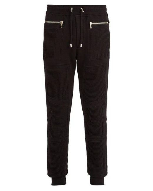 Balmain - Black Slim Leg Biker Track Pants for Men - Lyst