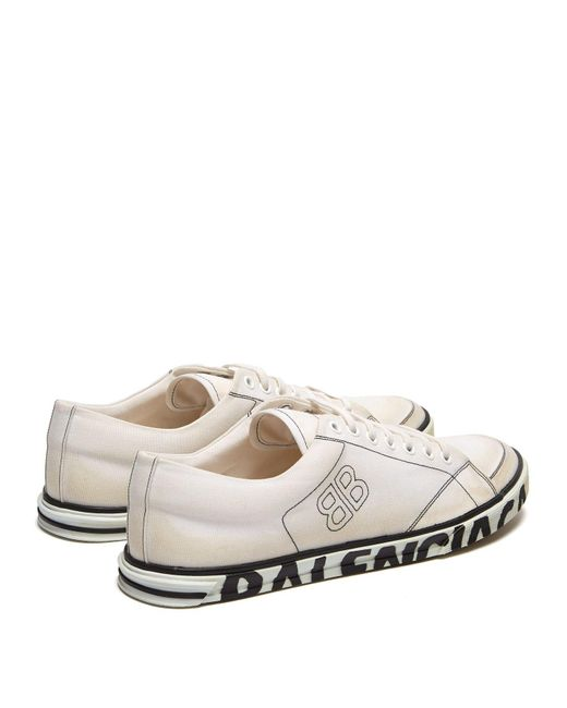 a39304d94a5 ... Balenciaga - White Distressed Logo Sole Canvas Trainers for Men - Lyst  ...