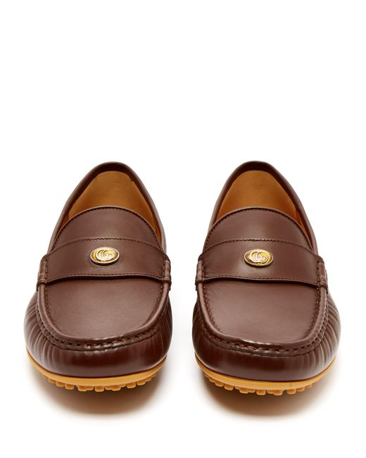 f997f538532 ... Gucci - Brown Kanye Leather Loafers for Men - Lyst ...