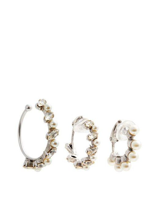 Set of three crystal-embellished hoop earrings Saint Laurent eMsydd