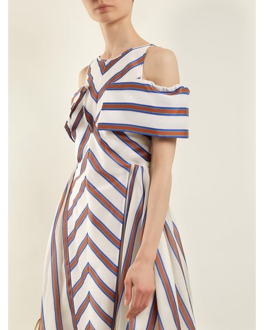 365124e22707 ... Fendi - Brown Striped Off The Shoulder Silk Blend Dress - Lyst ...