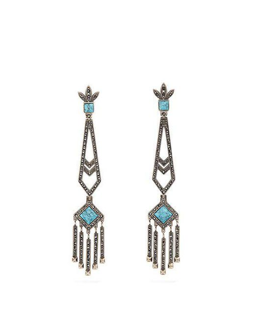 Valentino - Blue Embellished Drop Earrings - Lyst