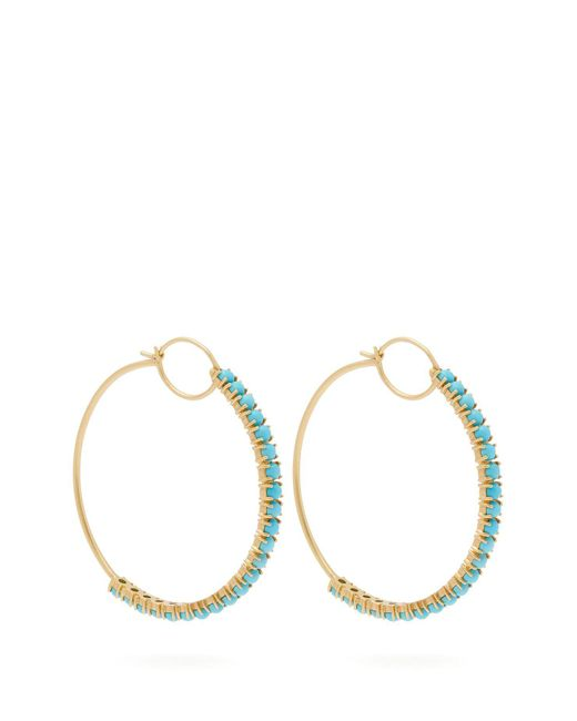 Irene Neuwirth - Blue 18kt Gold & Turquoise Hoop Earrings - Lyst